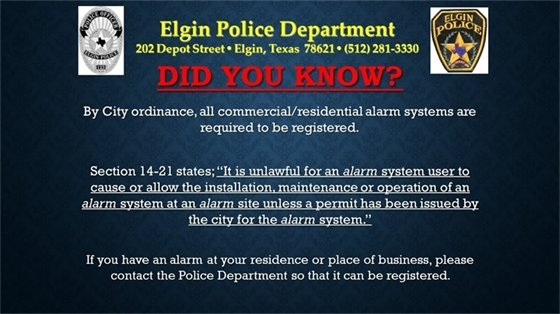 image with information about alarm permits requirements