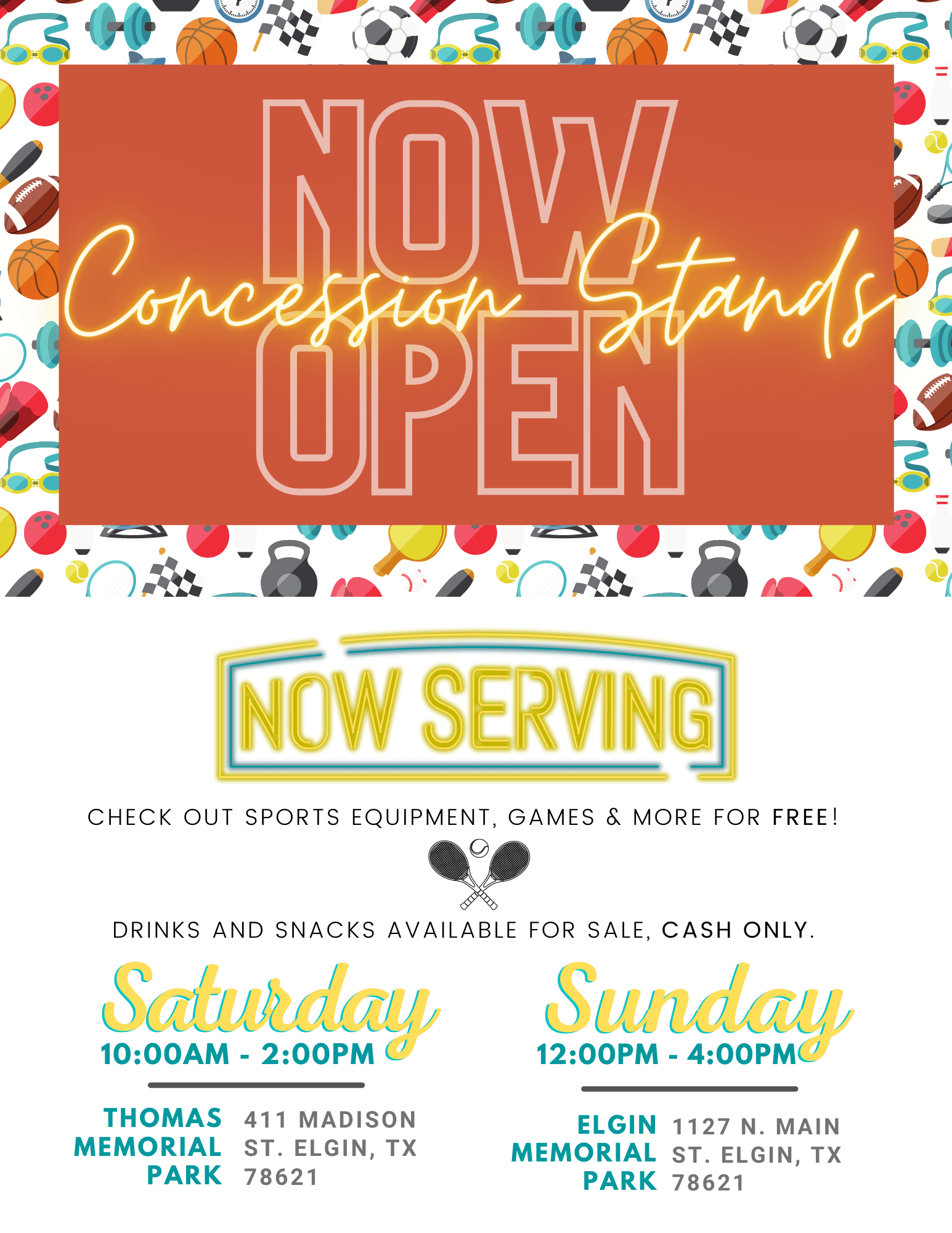 Concession Stand - Now Open Flyer