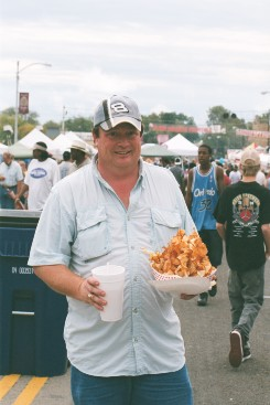 Man Enoying the Food at the Hogeye Festival