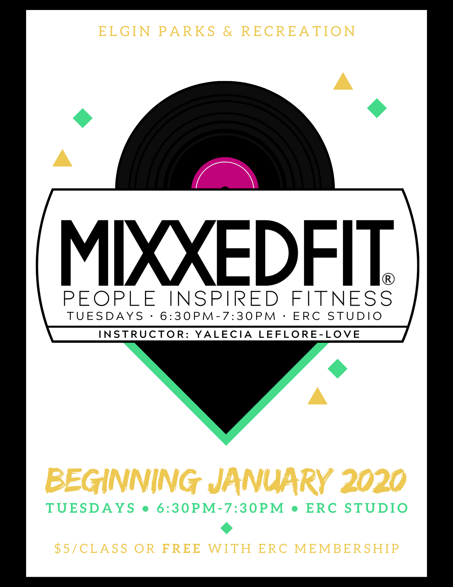 Mixxedfit Class Poster with Day, Time and Location